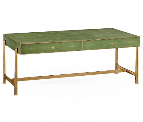 Green faux shagreen gilded coffee table - Jonathan Charles