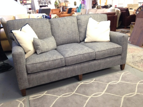 Taylor King Cozy Creations Track Arm Sofa in fabric. FLOOR MODEL SALE: $1,856.99 (Reg. $4,125.00)