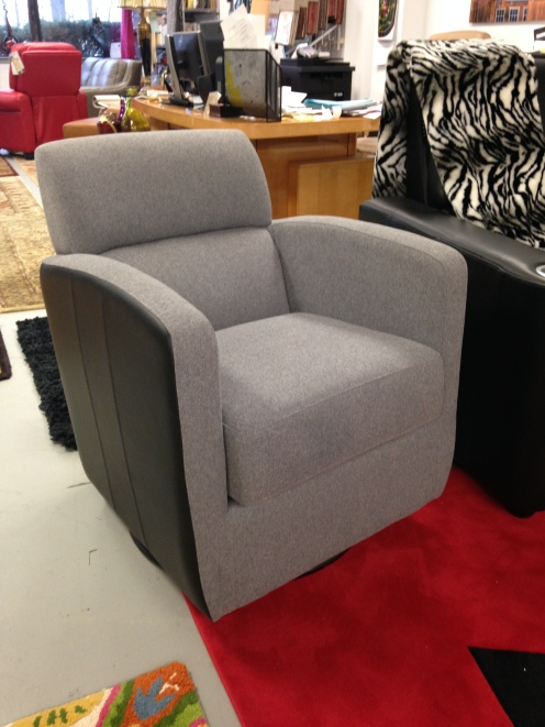 Jaymar 507 chair in Fabric and leather combo. FLOOR MODEL SALE: $850.99 (Reg. $1,890.00)