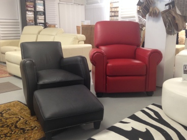 Jaymar Black Chair and Ottoman is SOLD! | Jaymar Red 58000 series recliner Retail: $3210.00 SALE: $1444.00