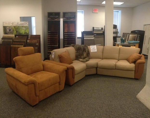 Jaymar Jade Leather Three Piece Sectional with Contrasting Arm SALE: $4,596.75 (Reg. $10,215.00 ) | Jade microfiber recliner with adjustable head rest. SALE: $540.00 (Reg. $1,200.00 )