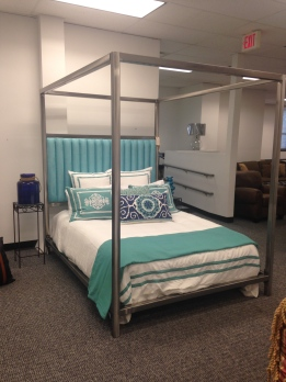 Metal Bed with Aqua headboard by Johnston Casuals. SALE: $1,755.00 (Reg. $3,900.00 )